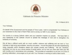 Prime minister xanana gusmo sends letter of congratulations to pope cartapapaportal thecheapjerseys Choice Image