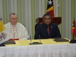 The Prime Minister of Timor-Leste, Rui Maria de Araújo, and the Cardinal Secretary of State of the Vatican, Pietro Parolin,  sign the agreement that establishes the legal framework for relations of the Democratic Republic of Timor-Leste with the Holy See and the Catholic Church