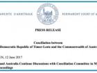 Atualização informativa sobre o processo de Conciliação entre Timor-Leste e a Comunidade da Austrália